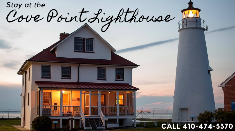 Cove Point Lighthouse and the Keeper's House at sunset