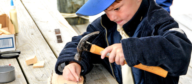 Boy Hammering Nails